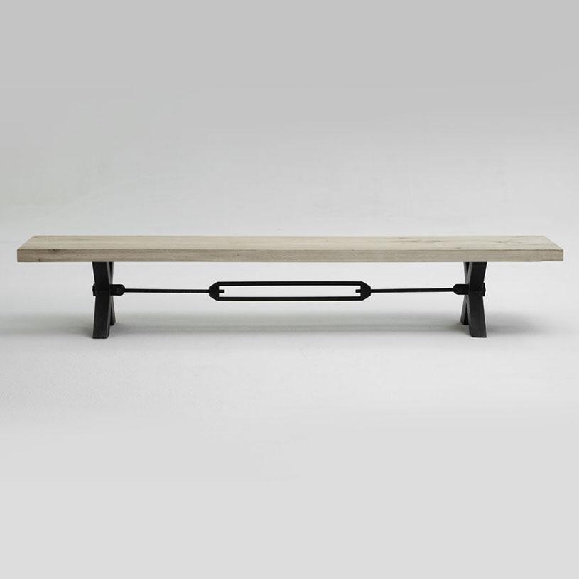 Rustik Solid Wood U0026 Metal Dining Bench, Cross Frame Leg